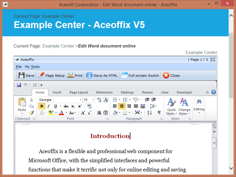 Aceoffix Free Edition for asp.net Screenshot